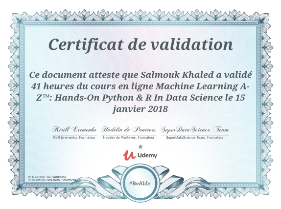 Machine learning Salmouk khaled